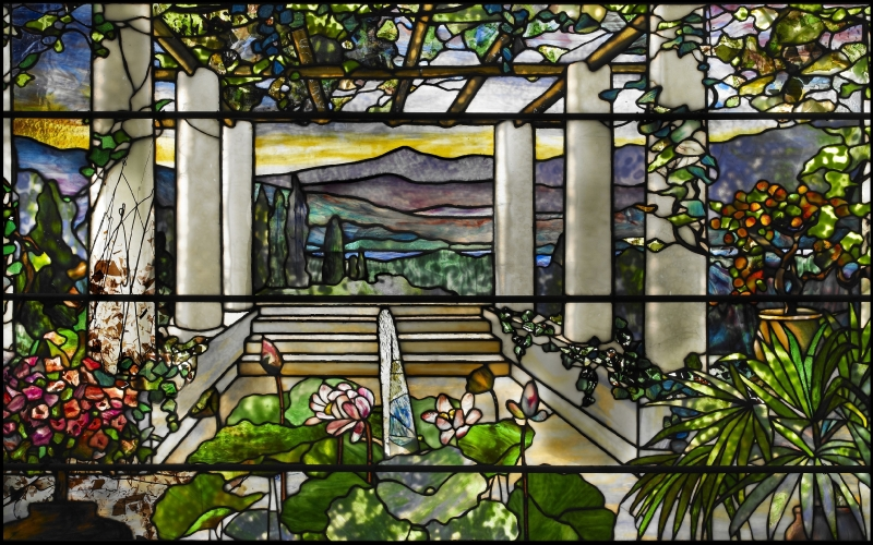 Louis Comfort Tiffany Garden Landscape Window c. 1900-1910