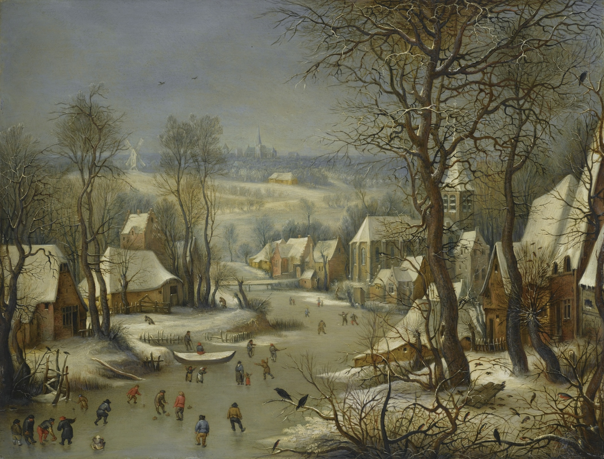 Winter by Pieter Brueghel with Antwerp in the Background