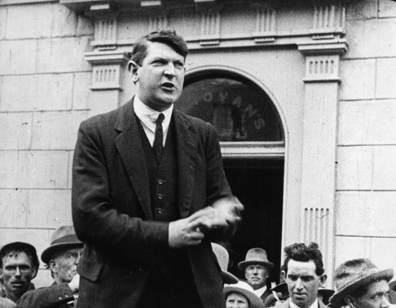 Michael Collins speaking about greater freedom and independence for the Irish people