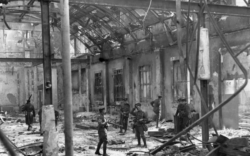 Soldiers inspect the interior of the Dublin's General Post Office
