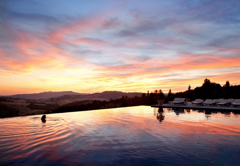 Castello Di Casole, Infinity Pool at Dusk