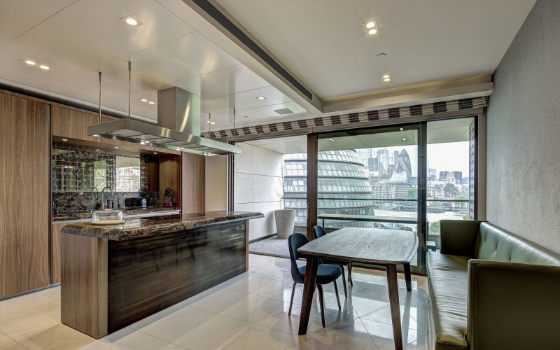 Blenheim House, One Tower Bridge offers a custom kitchen and high end appliances