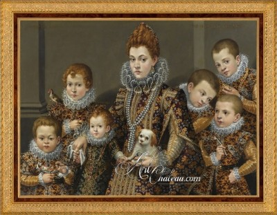 Bianca Maselli with her six Children, after Livinia Fontana