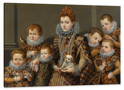 Portrait of Bianca degli Utili Maselli with six of her children, c.1605, Oil on Panel
