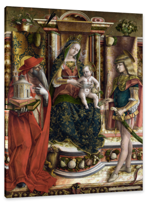 Virgin and Child enthroned with Saint Jerome and Saint Sebastian, c.1490, Oil on Poplar