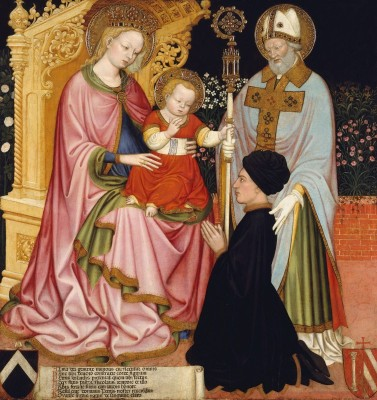 Madonna and Child with Doner Pietro de' Lardi, Presented by Saint Nicholas, c.1430, Tempera and Gold on Wood