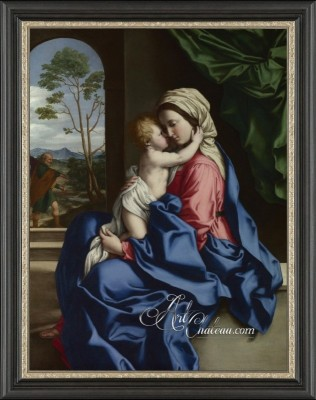 Renaissance Painting, The Virgin and Child Embracing