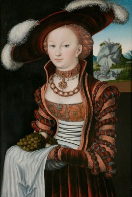 Portrait of a Young Woman Holding Grapes and Apples, c.1528, Oil on Oak Panel