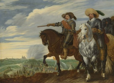 Prince Frederik Hendrik and Count Ernst Casimir at the siege of Hertogenbosch, c.1635, Oil on Panel