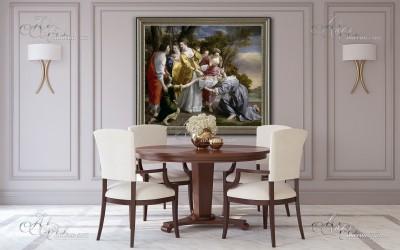 Tuscan Interior Design painting, after Orazio Lomi Gentileschi