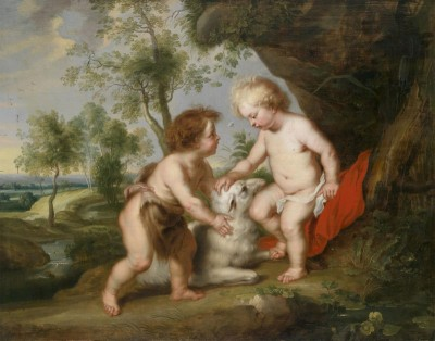 The Infant Child Christ and John the Baptist, c.1630, Oil on Copper