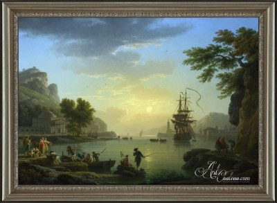 Embarkation at Sunset, after Claude Lorrain