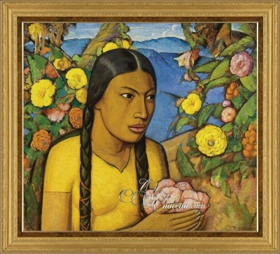 Juanita Entre Las Flores, after Alfredo Ramos Martínez