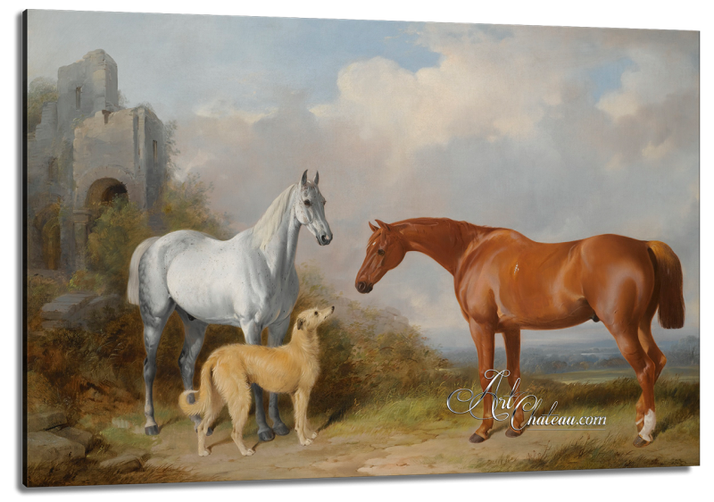 A Grey and a Chesnut Hunter with Deerhound, after William Barraud