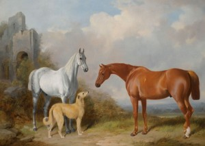 A Grey and Chestnut Hunter with A Deerhound, c.1848, Oil on Canvas