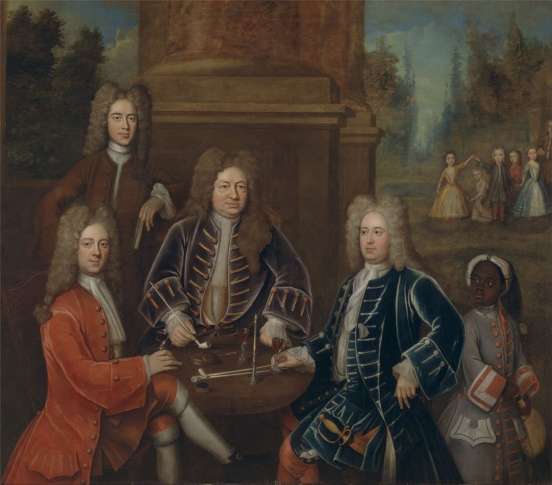 Conversation piece showing the 2nd Duke of Devonshire (at left, in red), c.1708, Oil on Canvas