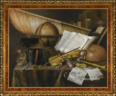 Still life with Globe, after Painting by Edwaert Collier