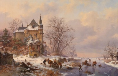 Ice Skaters by a Castle, c.1870, Oil on Canvas