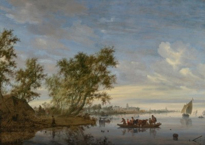 Ferry Boat with Cattle on the River Vecht, Near Nijenrode, c.1652, Oil on Canvas