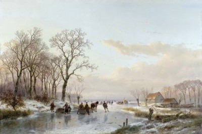 A frozen canal near Maas, c.1867, Oil on Canvas