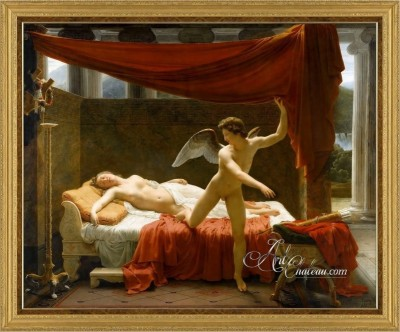 Neoclassical Painting, L'Amour et Psyche, after Francois Picot