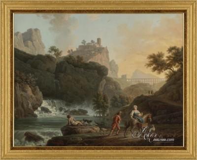 View of an Italian Waterfall, after Claude Joseph Vernet