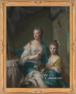 Rococo Painting of Madame Marsollier and Her Daughter