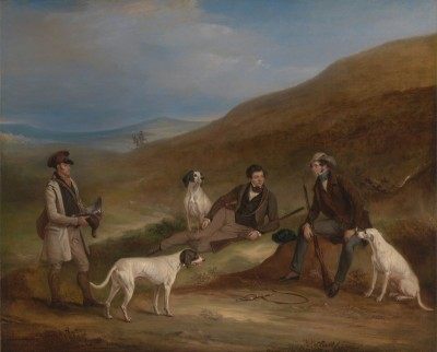 Edward Reynard and Brother George, Grouse-Shooting At Middlesmoor, Yorkshire, with Gamekeeper Tully Lamb, c.1836, Oil on Canvas