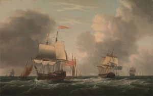 An English Two-Decker Lying Hove to, with Other Ships and Vessels in a Fresh Breeze, c.1780, Oil on Canvas