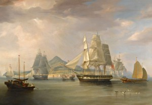 The Opium Ships at Lintin, China, c.1824, Oil on Canvas