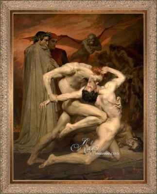 Dante and Virgile Painting, after William Bouguereau