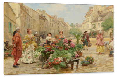 A Visit to the Market, c.1900, Oil on Canvas