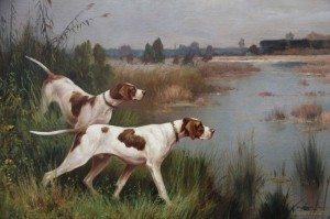 Pair of English Pointers, c.1900, Oil on Canvas