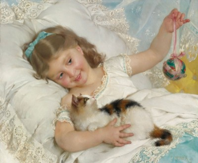Young Girl and Cat, c.1882, Oil on Canvas