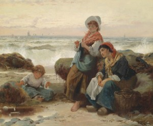 Fisherwomen with Child on the Coast, c.1895, Oil on Canvas