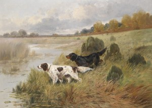 Setters Pointing in a Aast Landscape, c.1890, Oil on Canvas