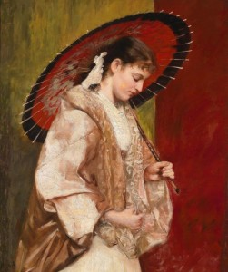 Young Woman with Parasol, c.1850, Oil on Canvas