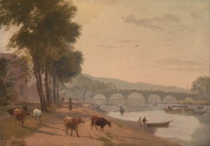 A View of Richmond Bridge, on the Thames, c.1810, Oil on Paper on Board