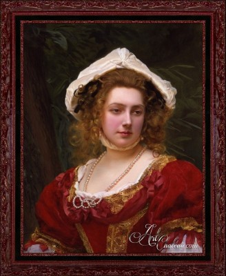 Girl with Red Dress, after Gustave Jean Jacquet