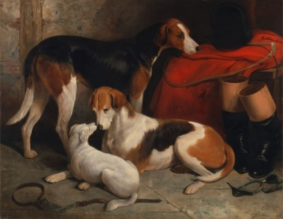 A Couple of Foxhounds with a Terrier, c.1845, Oil on Canvas