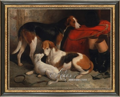 Foxhounds with a Terrier, after Painting by William Barraud