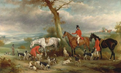Thomas Wilkinson with the Hurworth Foxhounds, c.1846, Oil on Canvas