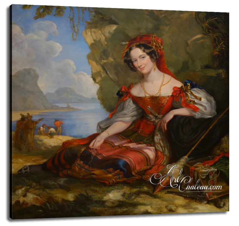 Victorian Painting of Lady Caroline Montagu in Byronic Costume