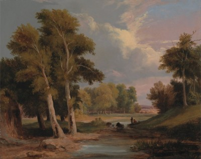 A Wooded River Landscape with Fishermen, c.1830, Oil on Canvas