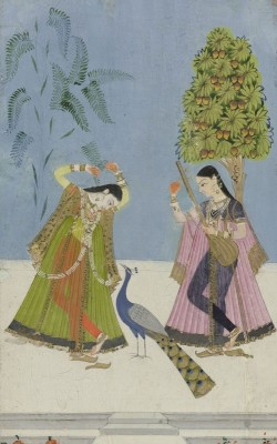 Two Women and a Peacock, c.1780, Oil and Gouache on Paper