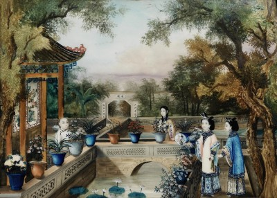 Late Song Period Garden Scene, c.1720, Oil on Glass