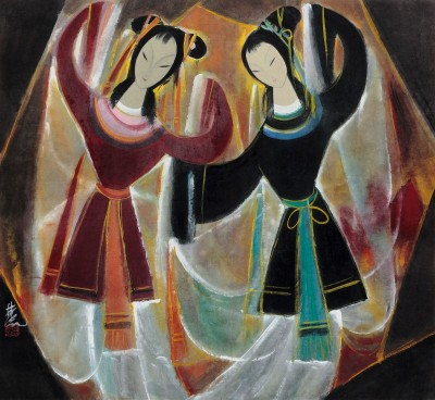 Opere Figures, c.1948, Ink and Color on Parchment