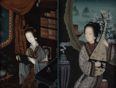 Fragrant Concubines of the Qing Dynasty, c.1895, Oil on Glass