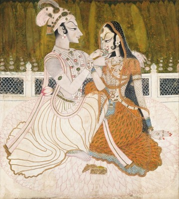 Krishna Offers Betel Nut to His Beloved Radha, c.1750, Watercolor and Gold on Cotton