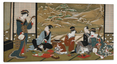 A Winter Party, c.1790, Color Pigment and Gold on Silk